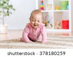 cheerful funny baby crawling... | Shutterstock . vector #378180259