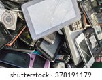 old cellphones and battery  ... | Shutterstock . vector #378191179