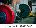 man of powerlifter squat... | Shutterstock . vector #378193699