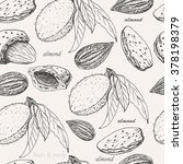 seamless pattern with almonds... | Shutterstock .eps vector #378198379