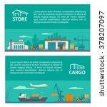 logistic concept flat banner...   Shutterstock .eps vector #378207097