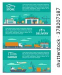 logistic concept flat banner... | Shutterstock .eps vector #378207187