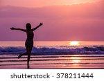 happy woman admiring beautiful... | Shutterstock . vector #378211444
