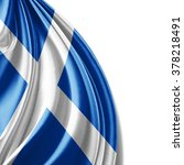 scotland flag of silk with... | Shutterstock . vector #378218491