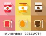 glasses of spread jam chocolate ... | Shutterstock .eps vector #378219754