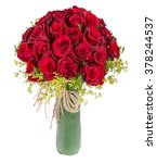 Stock photo red rose bouquet on white background 378244537