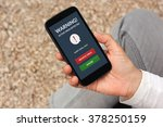 hand holding smart phone with... | Shutterstock . vector #378250159