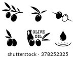 set of black isolated olive... | Shutterstock . vector #378252325