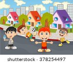 children playing at the street... | Shutterstock . vector #378254497