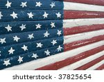 Old Glory Painted On A Worn Wood