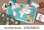 couple planning a trip around... | Shutterstock .eps vector #378258037