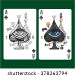 playing card ace of spades. | Shutterstock .eps vector #378263794