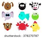 set of different animals in... | Shutterstock .eps vector #378270787