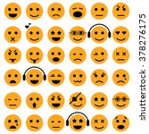 set of emoticons. smiley icons. ... | Shutterstock .eps vector #378276175