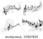 vector musical notes staff...   Shutterstock .eps vector #37827829