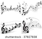 vector musical notes staff... | Shutterstock .eps vector #37827838