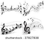 vector musical notes staff...   Shutterstock .eps vector #37827838