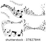 vector musical notes staff...   Shutterstock .eps vector #37827844