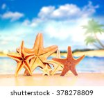 summer beach with a family of... | Shutterstock . vector #378278809