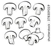 champignon mushrooms set... | Shutterstock .eps vector #378309319