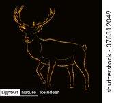 reindeer silhouette of gold...   Shutterstock . vector #378312049