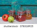 chutney in jars.