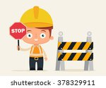 cute cartoon builder holding... | Shutterstock .eps vector #378329911