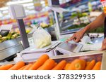 weighing of vegetable on... | Shutterstock . vector #378329935