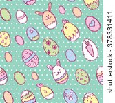 happy easter seamless pattern... | Shutterstock .eps vector #378331411