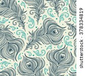 seamless pattern with peacock...   Shutterstock .eps vector #378334819
