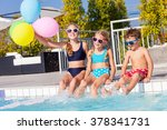 happy children with balloons... | Shutterstock . vector #378341731