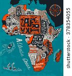 illustrated map of africa | Shutterstock .eps vector #378354055