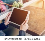 asian woman using tablet... | Shutterstock . vector #378361261