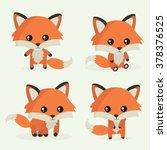 cute little fox. vector set.... | Shutterstock .eps vector #378376525