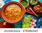 pozole with mote big corn stew... | Shutterstock . vector #378386365