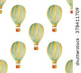 air balloon watercolor seamless ... | Shutterstock . vector #378411709
