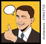pop art illustration man wink... | Shutterstock .eps vector #378417715