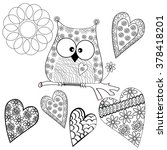 owl love owl on the branch  | Shutterstock .eps vector #378418201