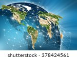 world map on a technological... | Shutterstock . vector #378424561