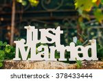 wooden  just married | Shutterstock . vector #378433444