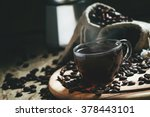 hot espresso coffee in a glass... | Shutterstock . vector #378443101