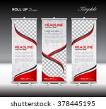 red roll up banner template...