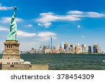 view to downtown manhattan and... | Shutterstock . vector #378454309