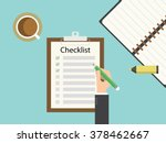 checklist clipboard. flat... | Shutterstock .eps vector #378462667