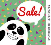 smiling panda talk quote bubble.... | Shutterstock .eps vector #378480781