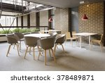 Stock photo an empty cafeteria interior shot large windows letting in light 378489871