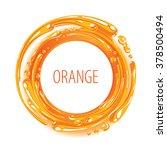 orange color ink circle splash... | Shutterstock .eps vector #378500494