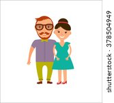 happy  smiling  couple in flat... | Shutterstock .eps vector #378504949