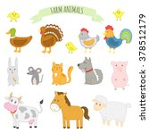 illustration of farm animals ... | Shutterstock . vector #378512179