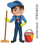 happy cleaner man isolated | Shutterstock .eps vector #378518224